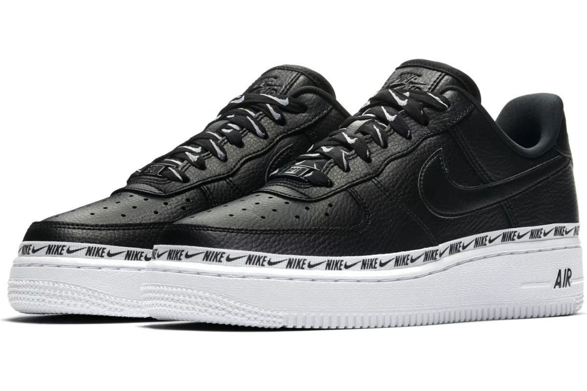 release nike air force 1 damen schwarz overbranded. Black Bedroom Furniture Sets. Home Design Ideas