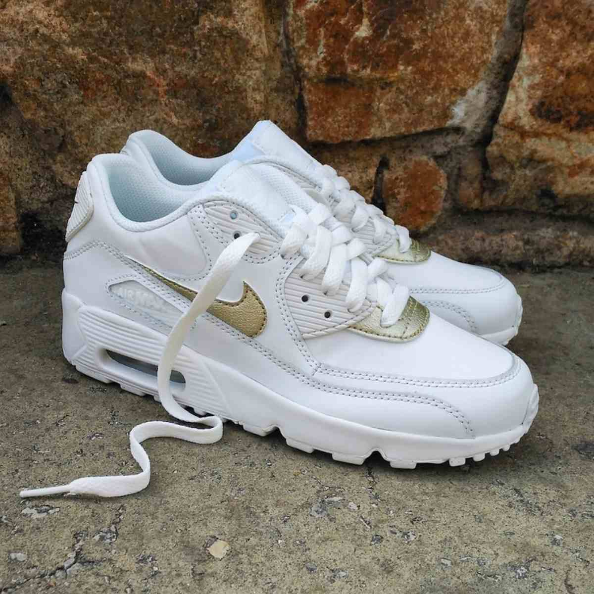 Nike Wmns Air Max 90 Leather Gs White 833376 103