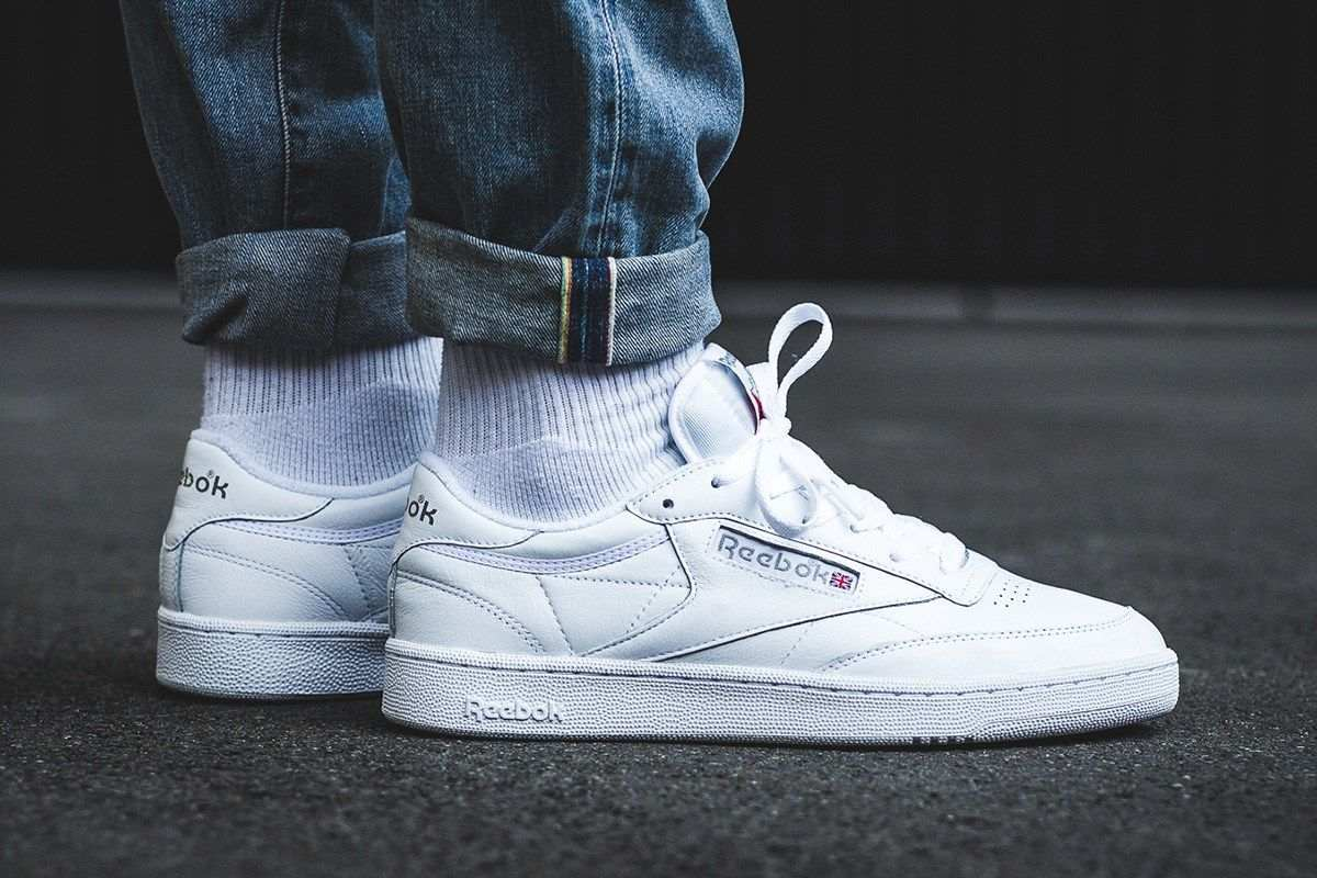 White Trainers Mens Summer Reebok Club C 85 Wit heren Dv9536