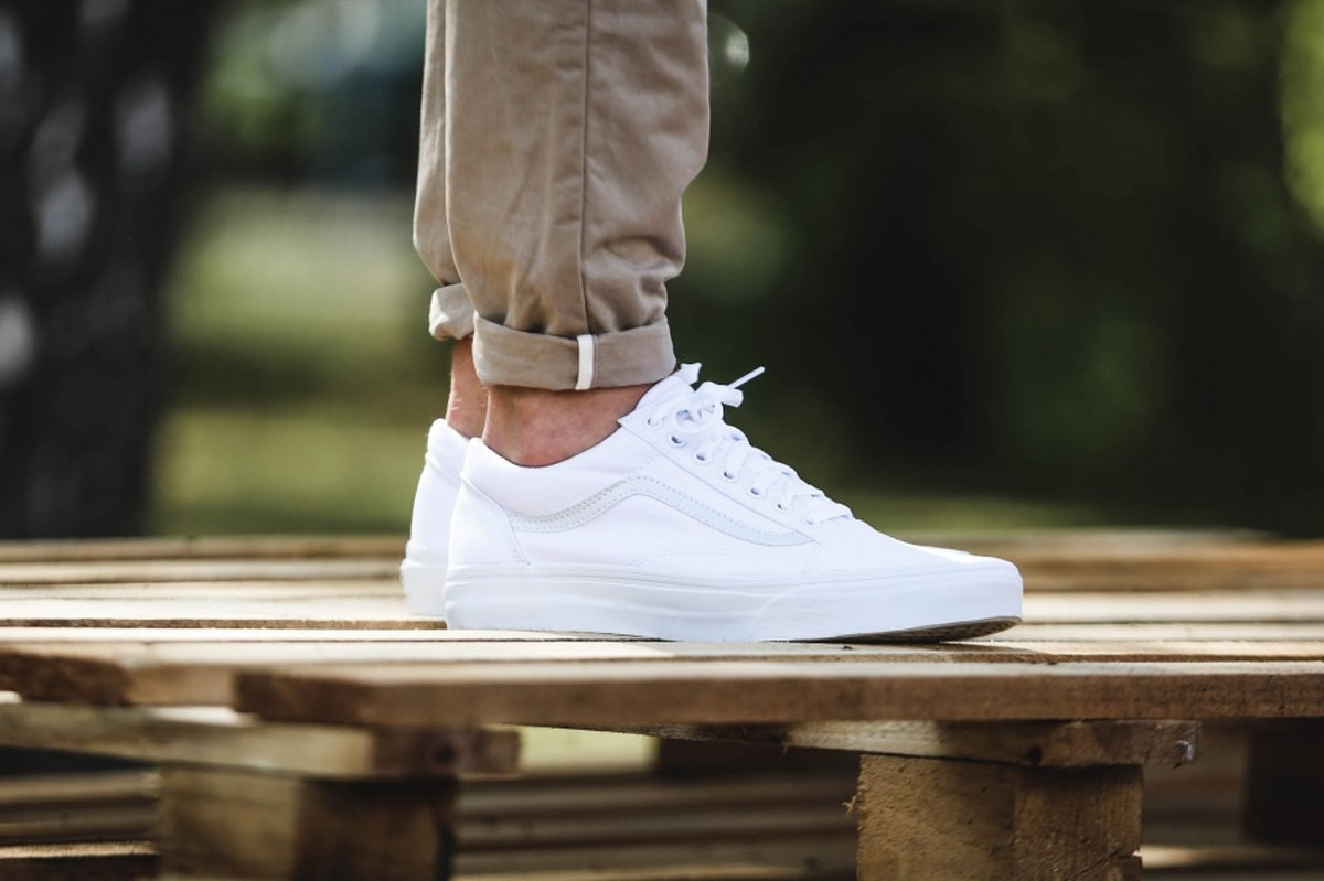 White Trainers Mens Summer Vans Old Skool Wit Heren Vd3hw00